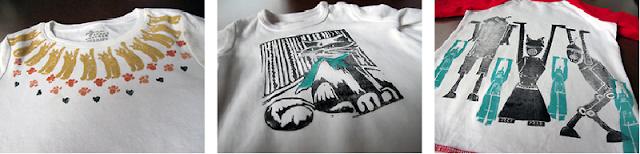 linocut block print t-shirt
