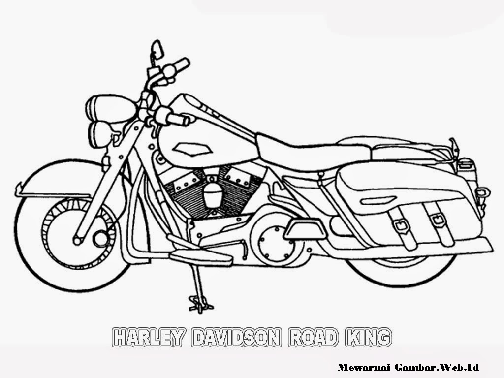 gambar sketsa motor harley davidson