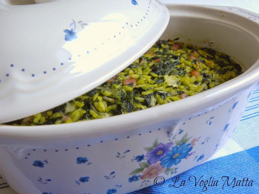 sformato gustoso di riso e spinaci