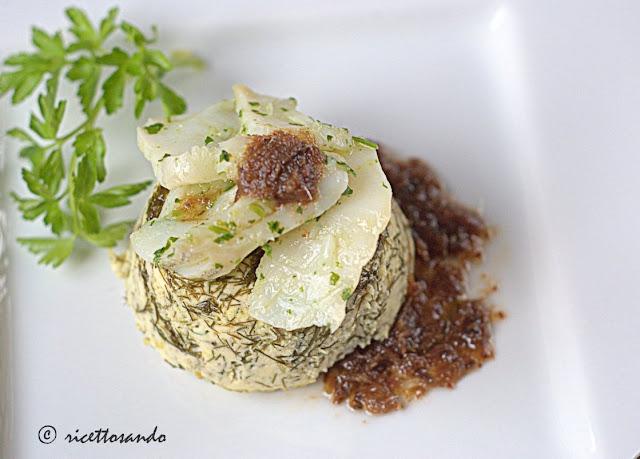 Baccalà su cheesecake di ricotta al finocchietto ricetta antipasto