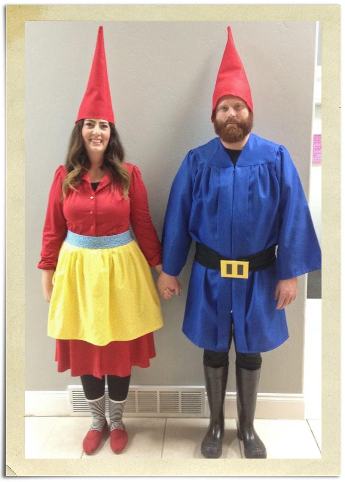 my darling and creative daughter in law ashlee put together these garden gnome costumes for their annual friends halloween party
