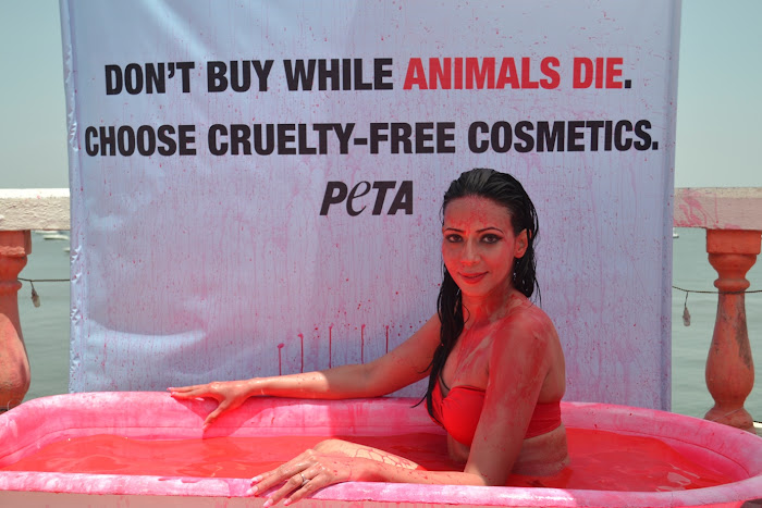 rozlyn khan bathes in blood for peta hot images