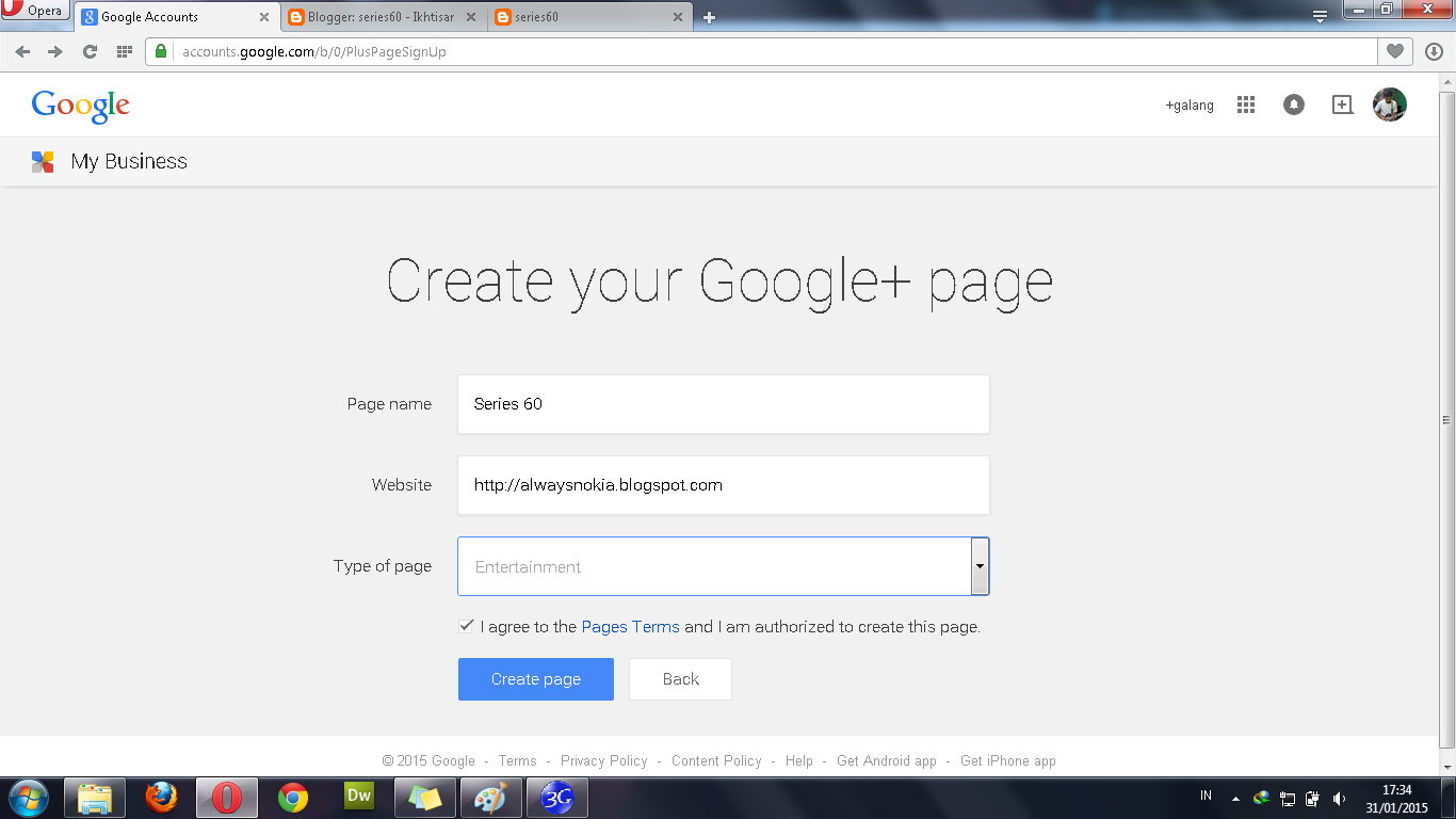 Membuat Fans Page Blog Google+