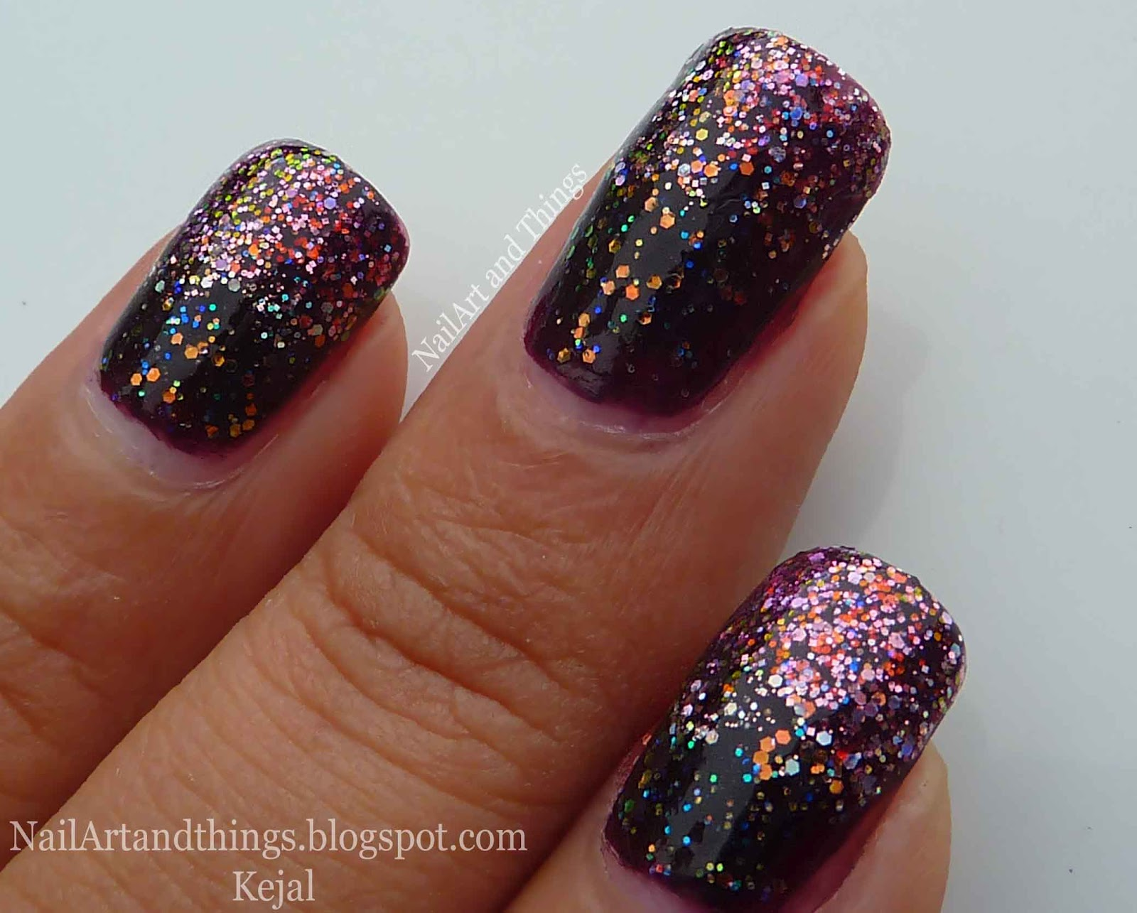 NailArt and Things: Classy Glitter Gradient Nail Art