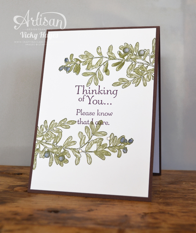 Stampin up ideas and supplies from vicky at crafting clares heres a different style with the same sentiment a favourite of mine from hopeful thoughts i watercoloured the leaves and olives for a quick touch of stopboris Choice Image