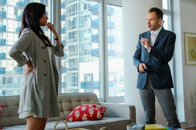 Jonny Lee Miller and Lucy Liu as Sherlock Holmes and Joan Watson in CBS Elementary Season 2 Episode 8 Blood Is Thicker