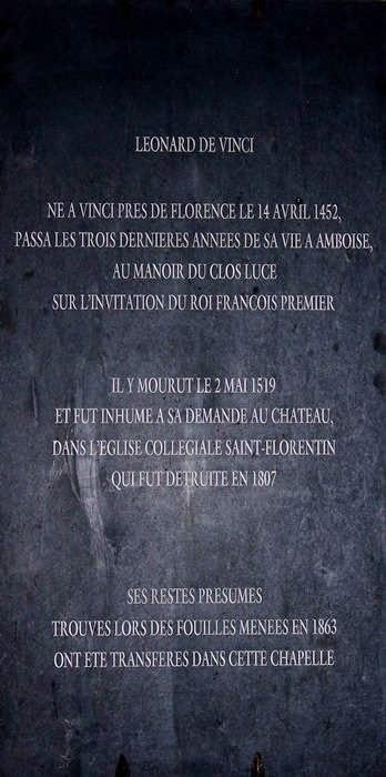 Châteaux de la Loire Amboise Chapelle Saint-Hubert et Léonard de Vinci