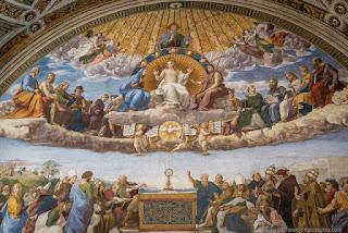 Raffaello, disputa eucaristica, stanze di Raffaello