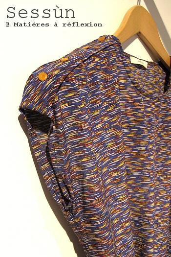 Sessun robe soie bleu Kalaha