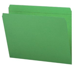 green straight-cut file folder