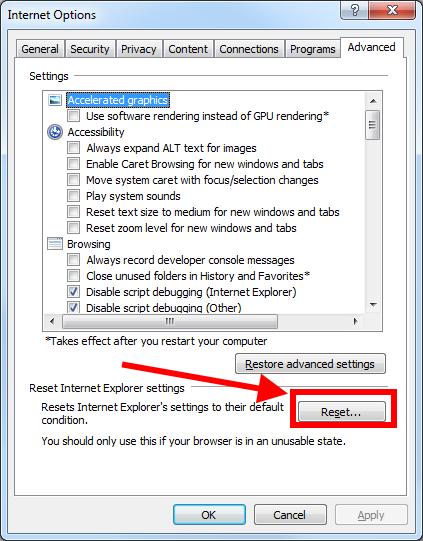Internet Explorer - Redefinir