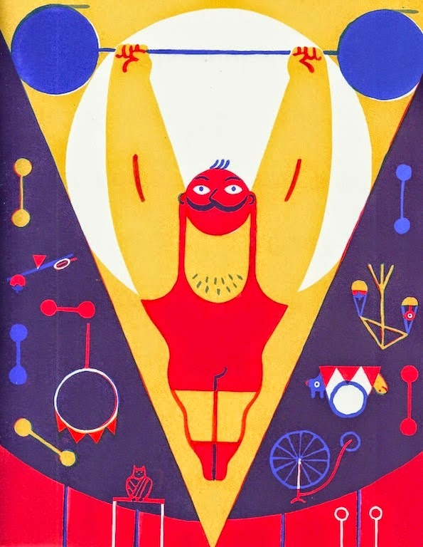 illustration of a circus strong man by Julie Escoriza