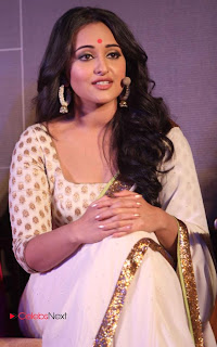 Sonakshi Sinha Pos in Saree at Lootera Movie First Look Launch 0016.jpg