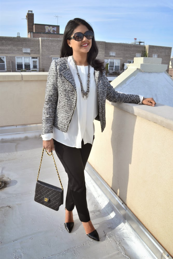 H&M tweed jacket Theory blouse, banana republic pants