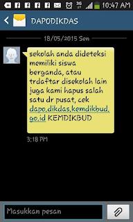 sms info dari dapodikdas