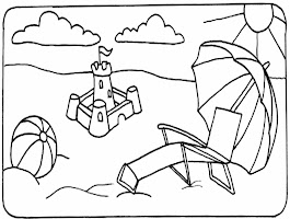 Black And White Coloring Page Summer Fun