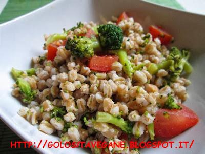 aglio, broccoli, farro, pomodori, Primi, ricette vegan, vapore,
