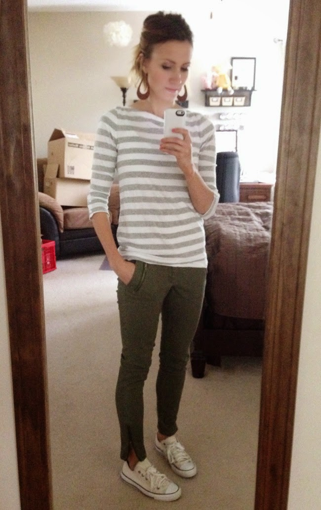 Gray striped tee, olive skinnies and Converse