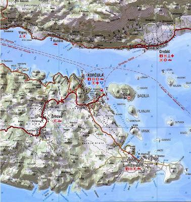Mapa de Korcula – Croácia