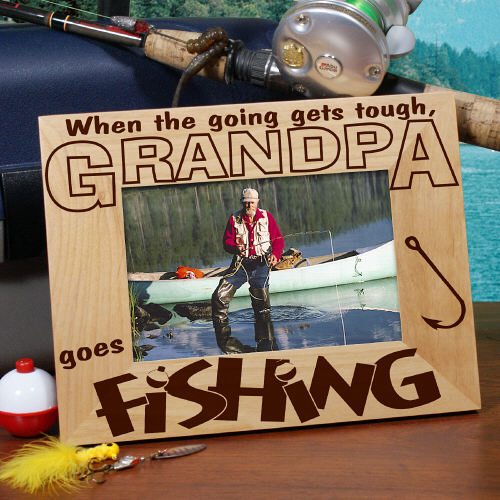 Personalized Gifts: Go Fishing Engraved Wood Photo Frames