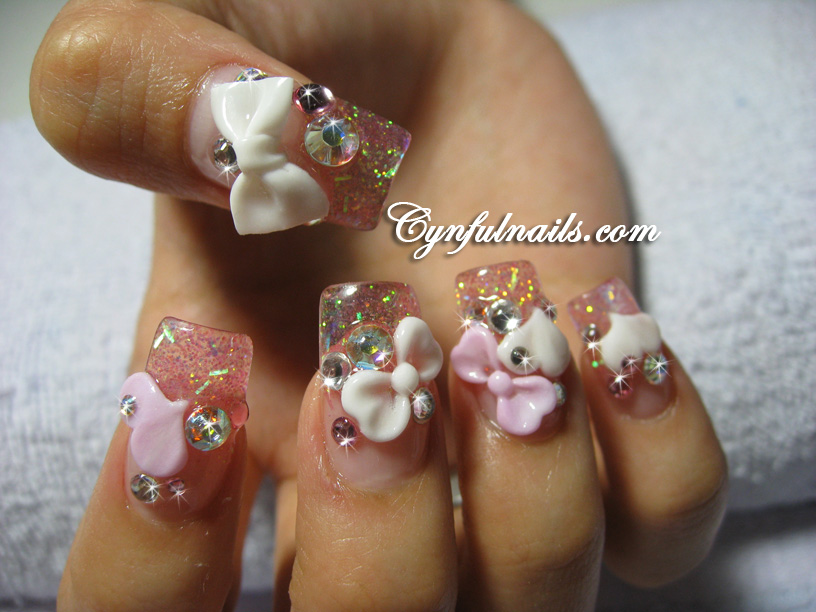 Gallery For White Acrylic Nails With Bows