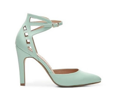 Resstricted mint high heeled ankle strap pumps