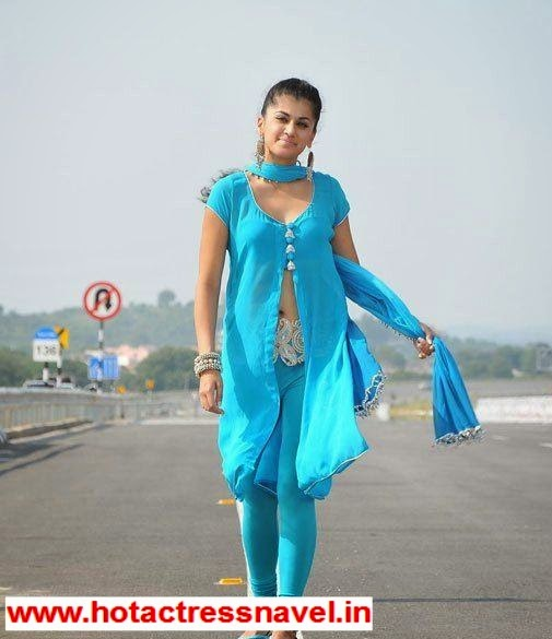 Tapsee Exposes Navel In Blue Dress