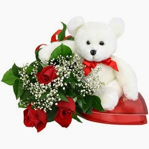 Red Rose & Teddy bear Be My Valentine