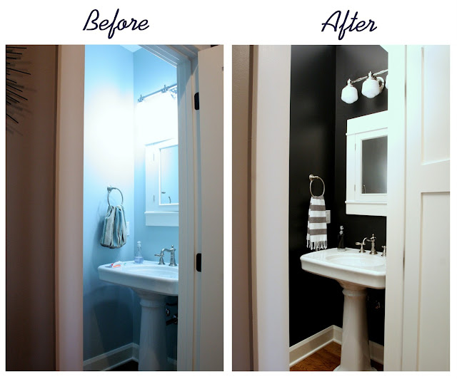 Stuck on hue house tour powder room in coal for Paint colors for powder rooms