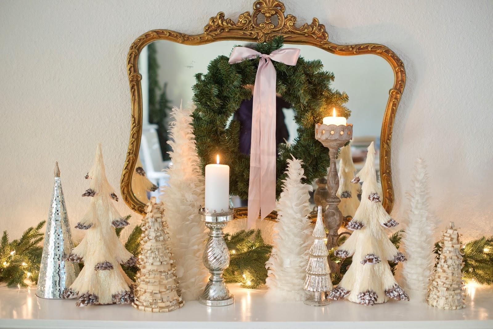 Domestic Fashionista White Tree Christmas Mantel Display