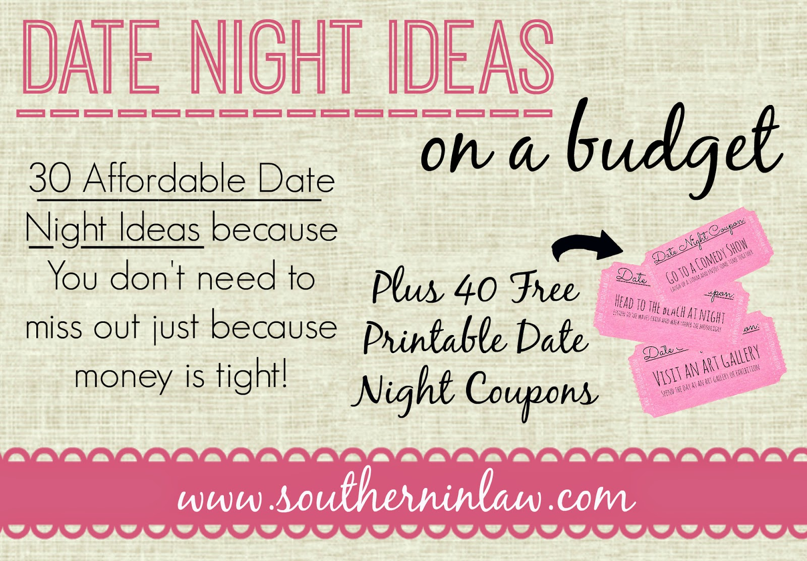 photo relating to Date Night Jar Printable titled Southern Inside of Legislation: 30 Cost-effective Day Evening Programs for Every time Yourself