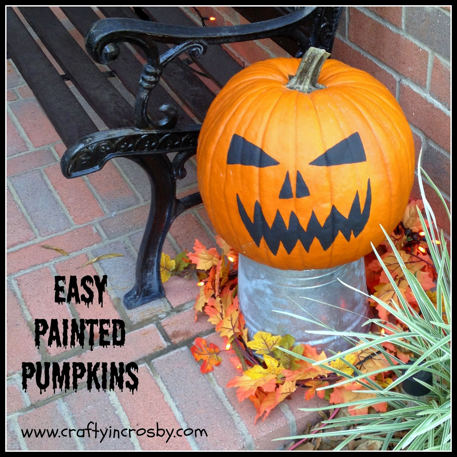 no carve pumpkin, painted pumpkin, Easy Halloween Pumpkin