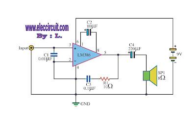 9 Volt Audio Power Amplifier Circuit