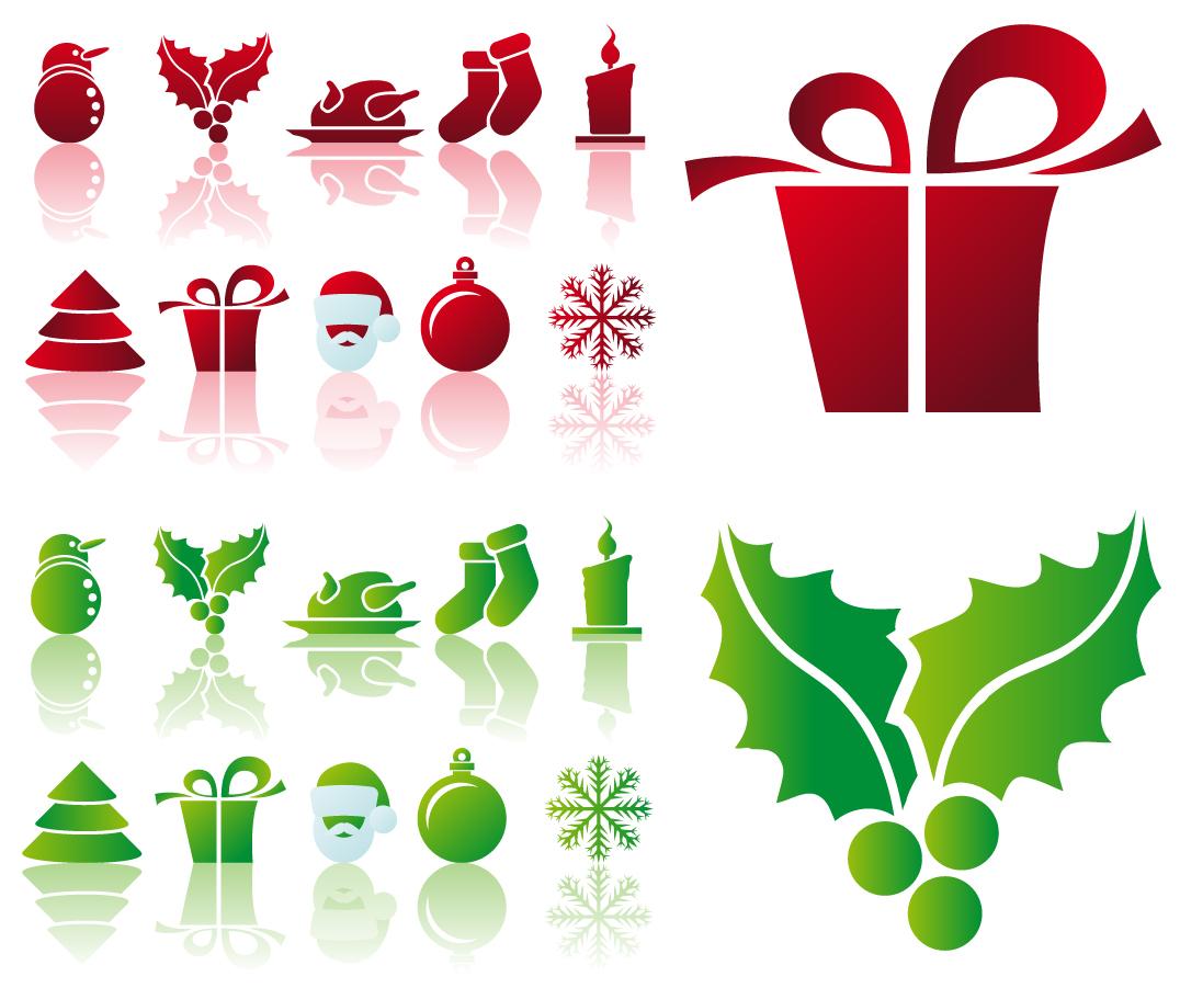 クリスマス飾りのアイコン SIMPLE CHRISTMAS ICON VECTOR イラスト素材