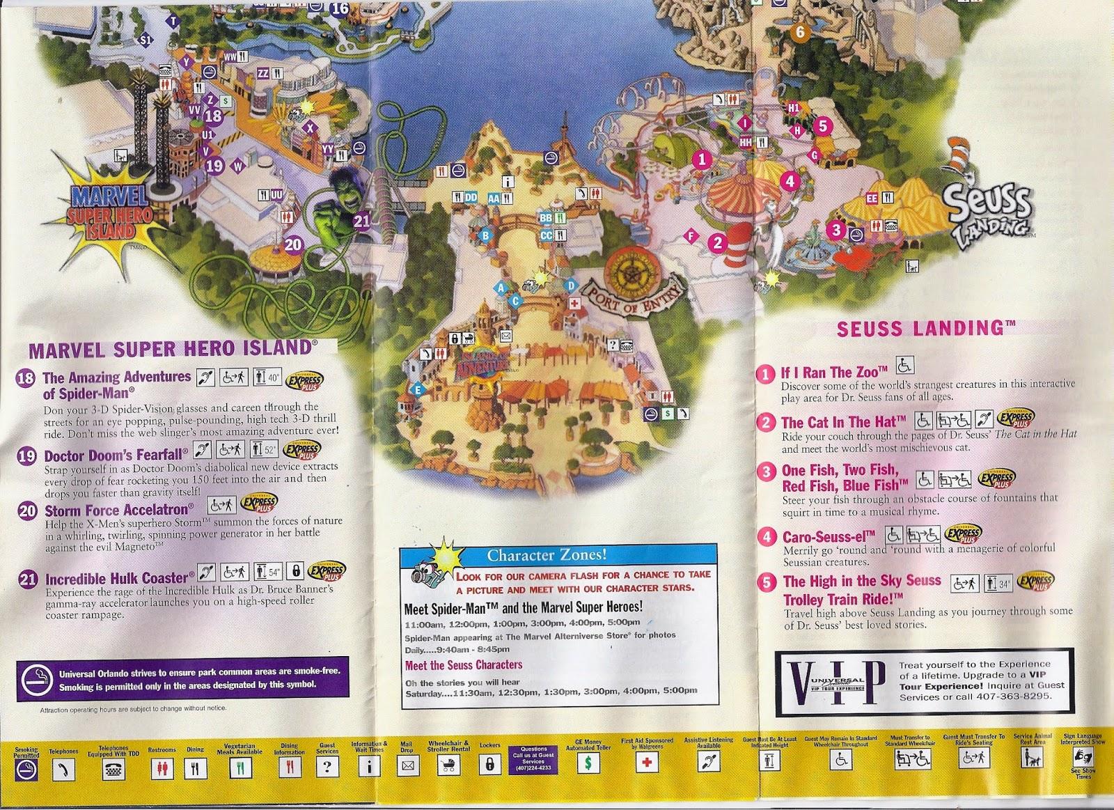 all around orlando retro  islands of adventure theme park  - retro  islands of adventure theme park guide map