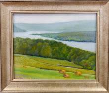 """Keuka Lake with Hay Bales"""