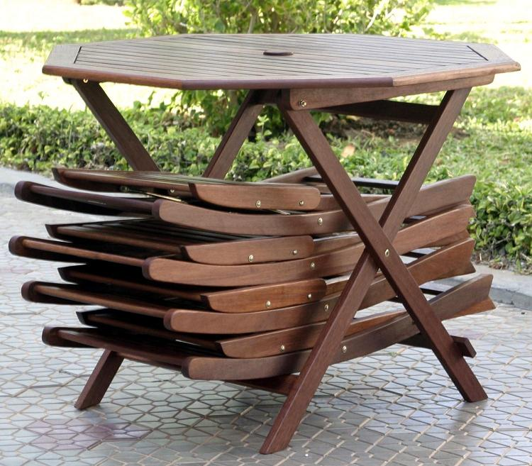 Outdoor furniture blog 5pc folding outdoor wood patio for Patio furniture table set