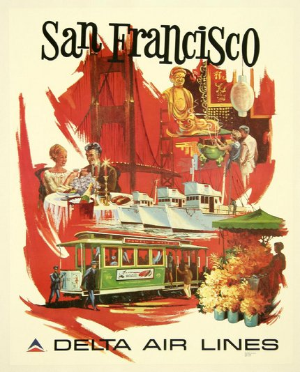 classic posters, free download, graphic design, retro prints, travel, travel posters, vintage, vintage posters, San Francisco, Delta Air Lines - Vintage California Travel Poster