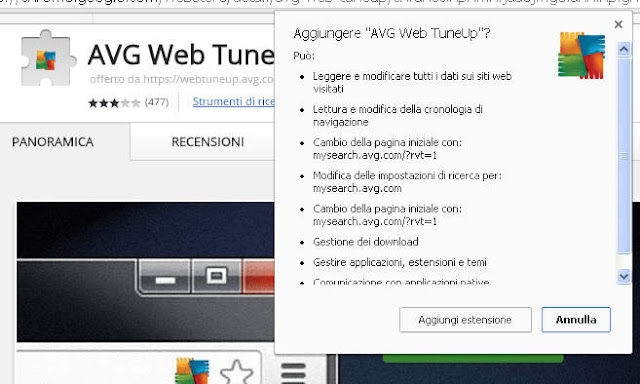 Permessi AVG Web TuneUp su Chrome