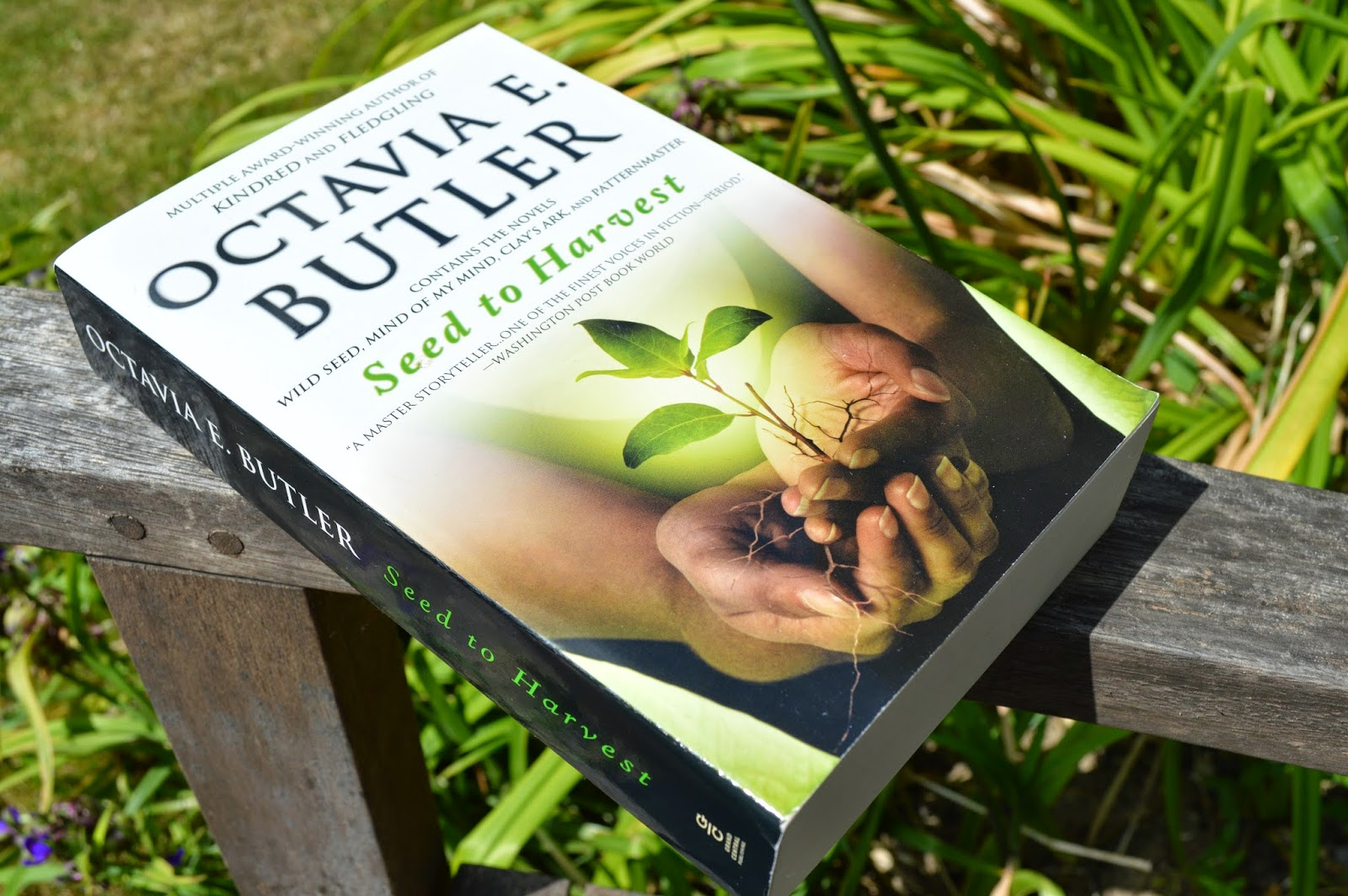 photo, photograph, paperback, UK edition, book cover, spine, Octavia E Butler, Seed to harvest, Patternist series, book review, Wild seed, mind of my mind, clay's ark, Patternmaster, afro-futurism, science fiction, African-American literature
