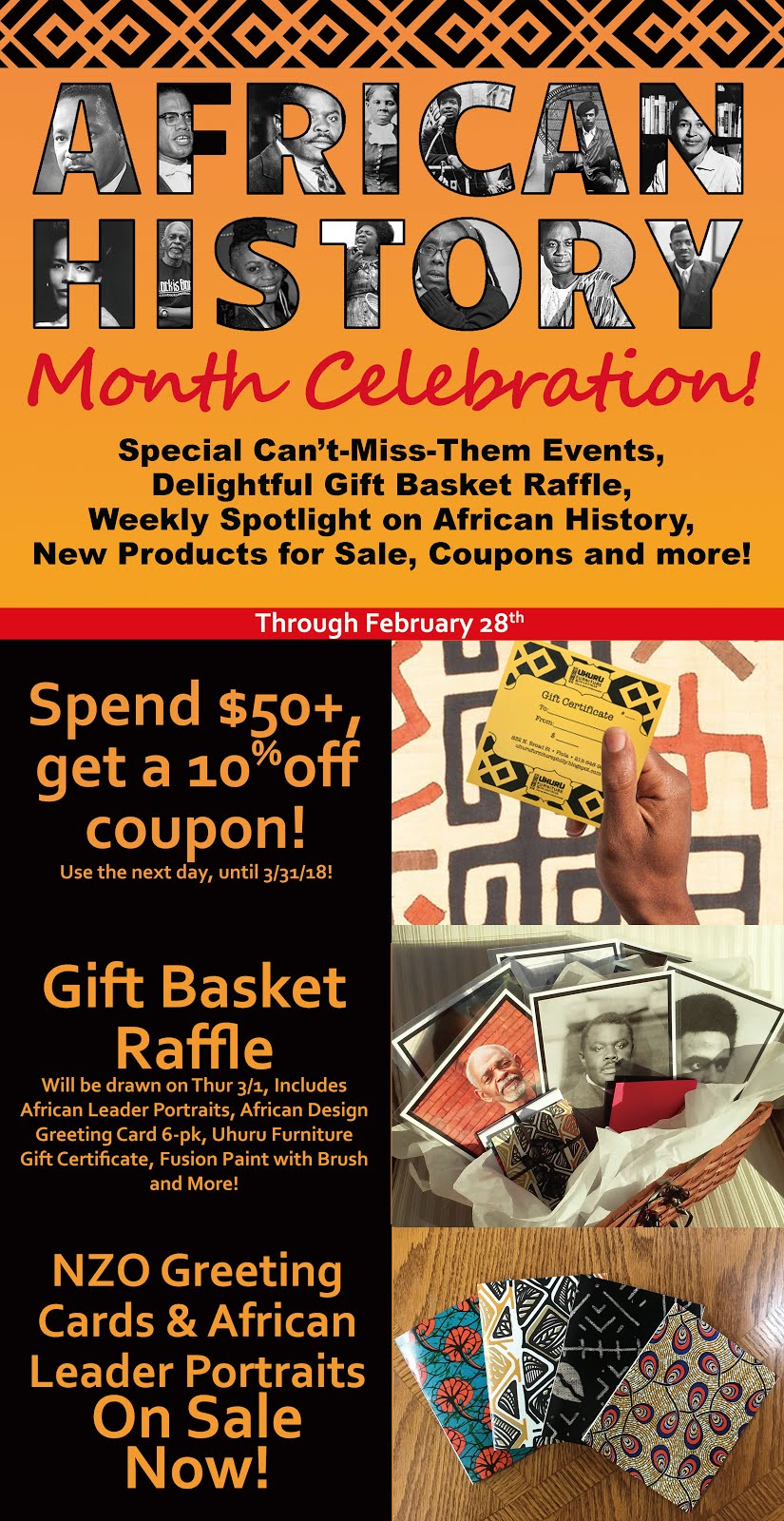 African History Month: Raffle, Coupons, New Products and More!