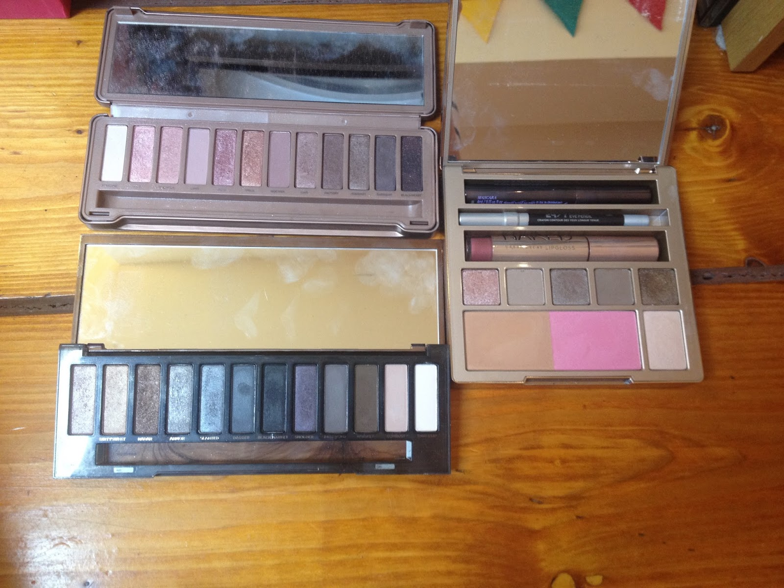 Top Row: Benefit Big Beautiful Eyes, Nix Smokey Look Kit, MUA Pretty Edgy Eyeshadow  Palette