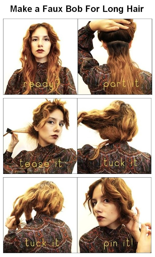 Make a Faux Bob For Long Hair
