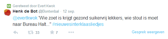 Tweet over zwartepietendiscussie