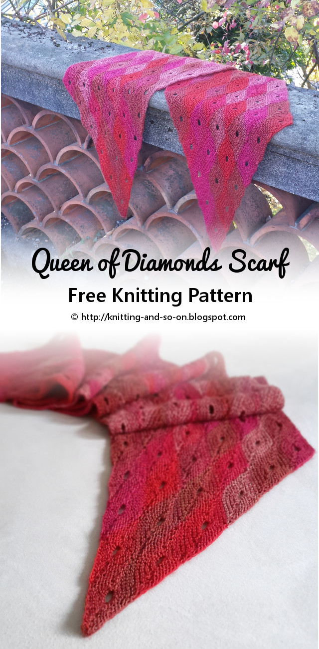 Knitting and so on: Queen of Diamonds Scarf