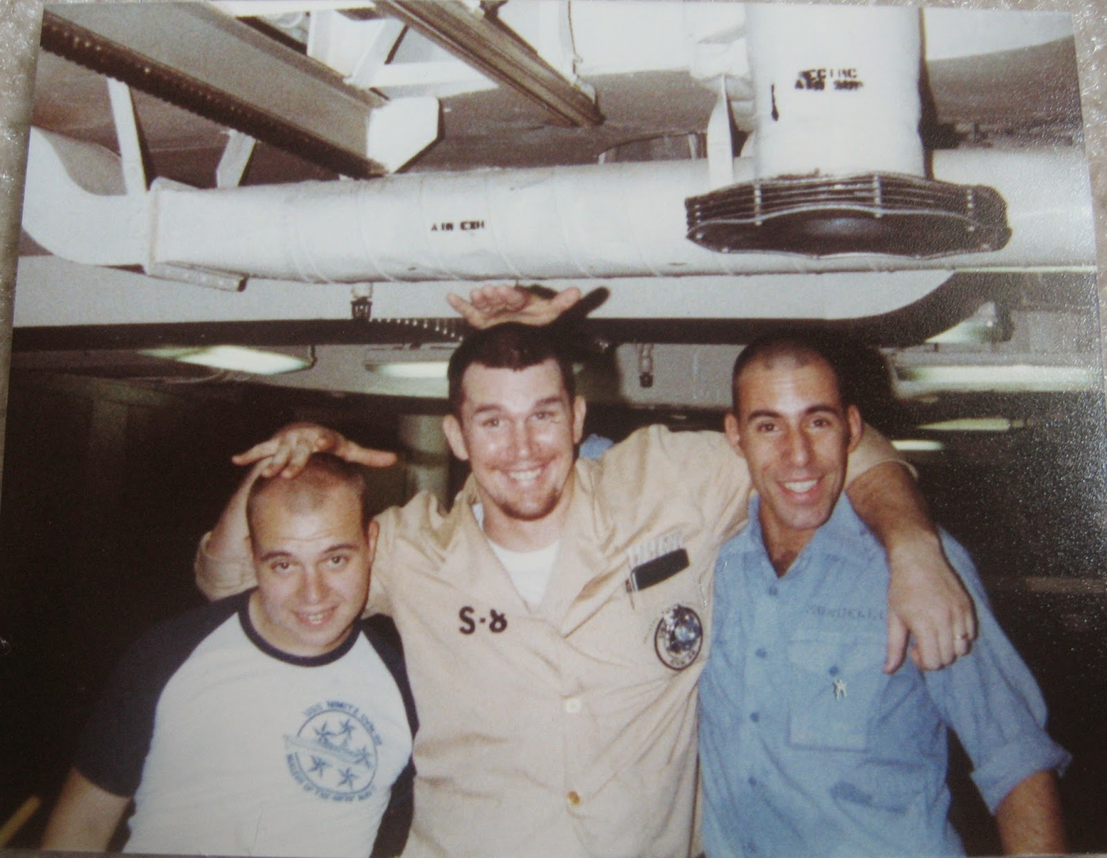 Bill Scire, BB, Tommy Mondello on mess decks USS Nimitz 1982/1983