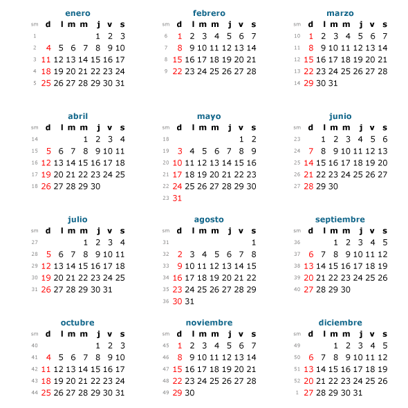 Calendario básico 2015 en español - Vector