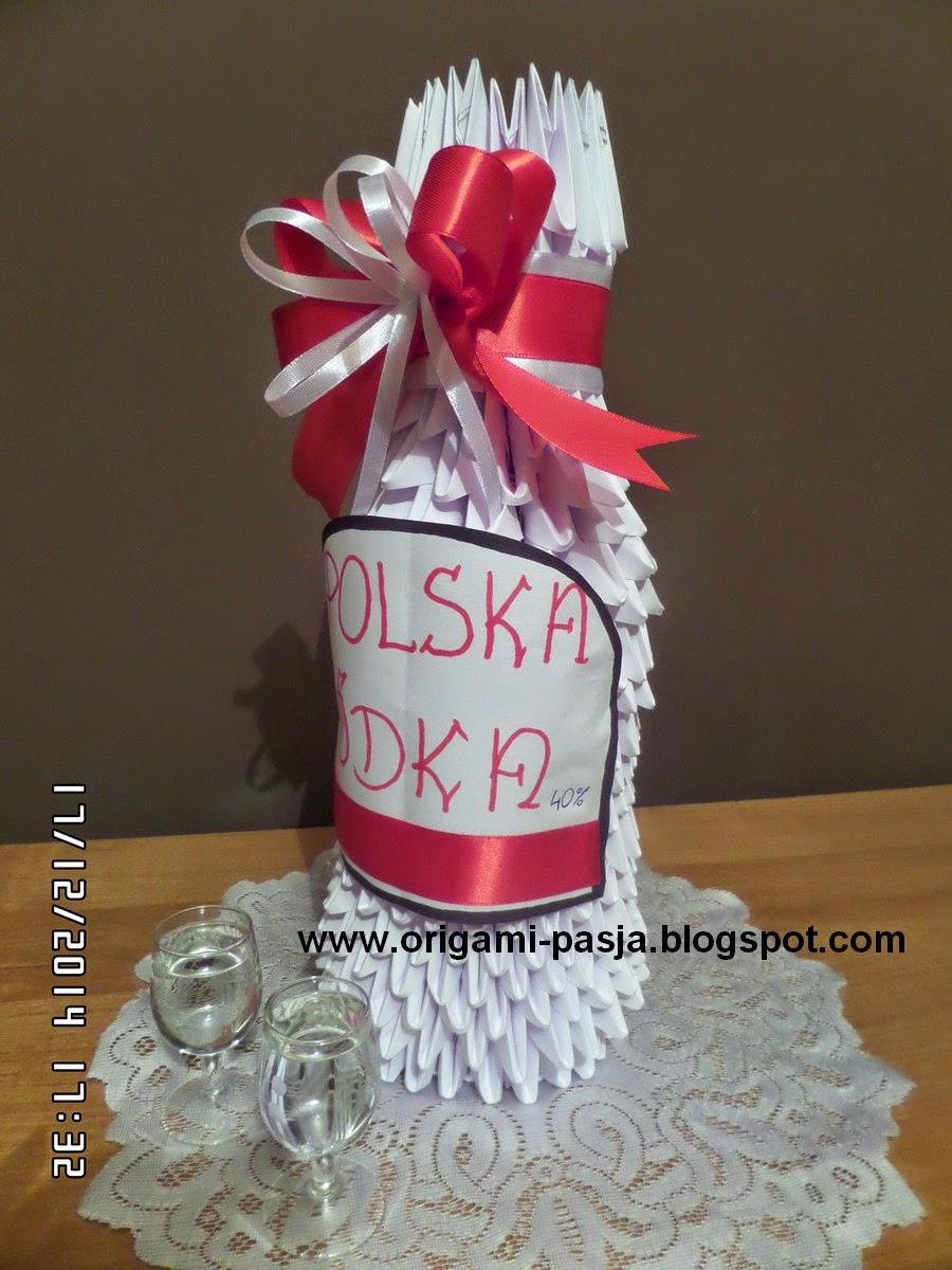 Butelka wódki - origami modułowe.