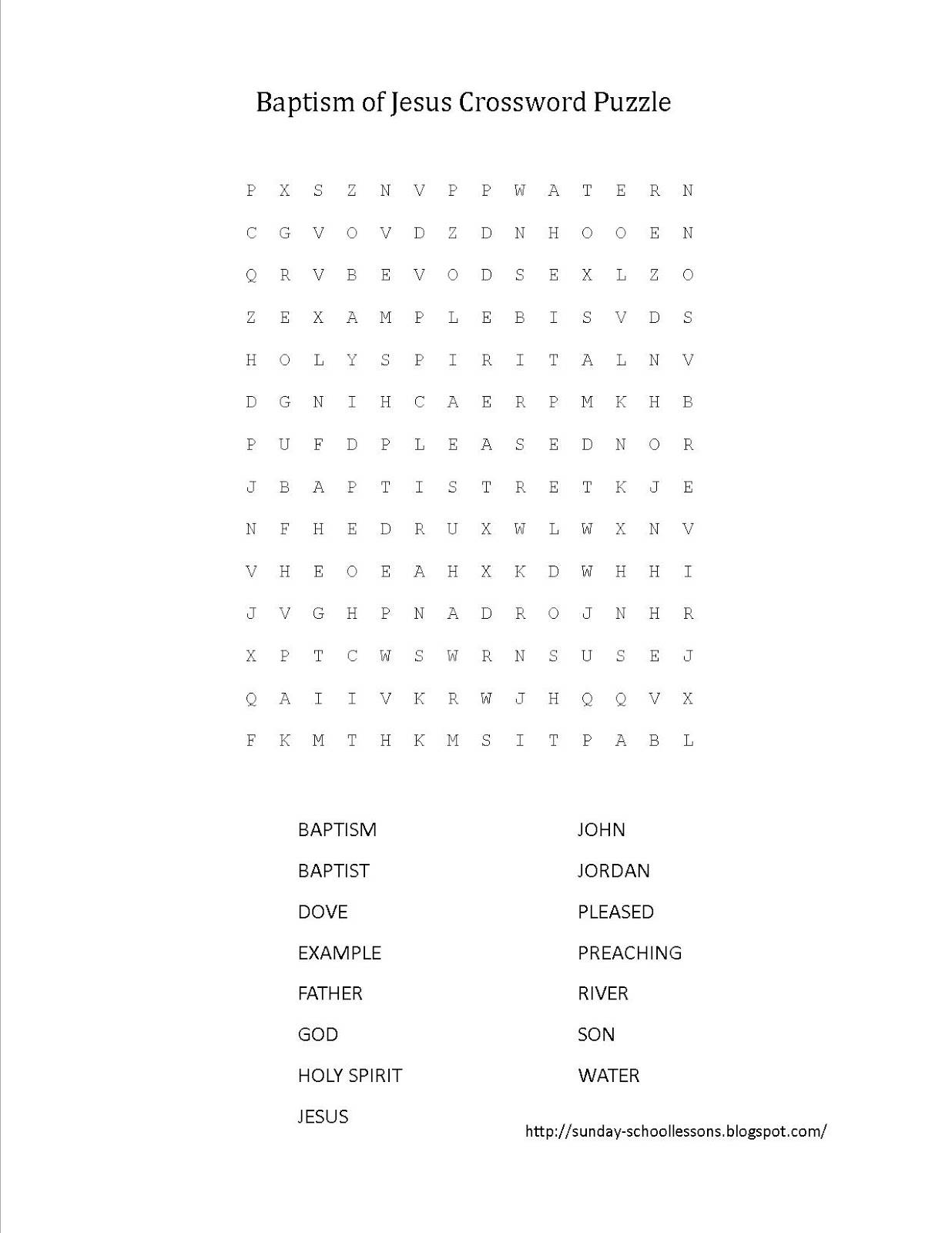 Baptism Of Jesus Crossword Puzzle