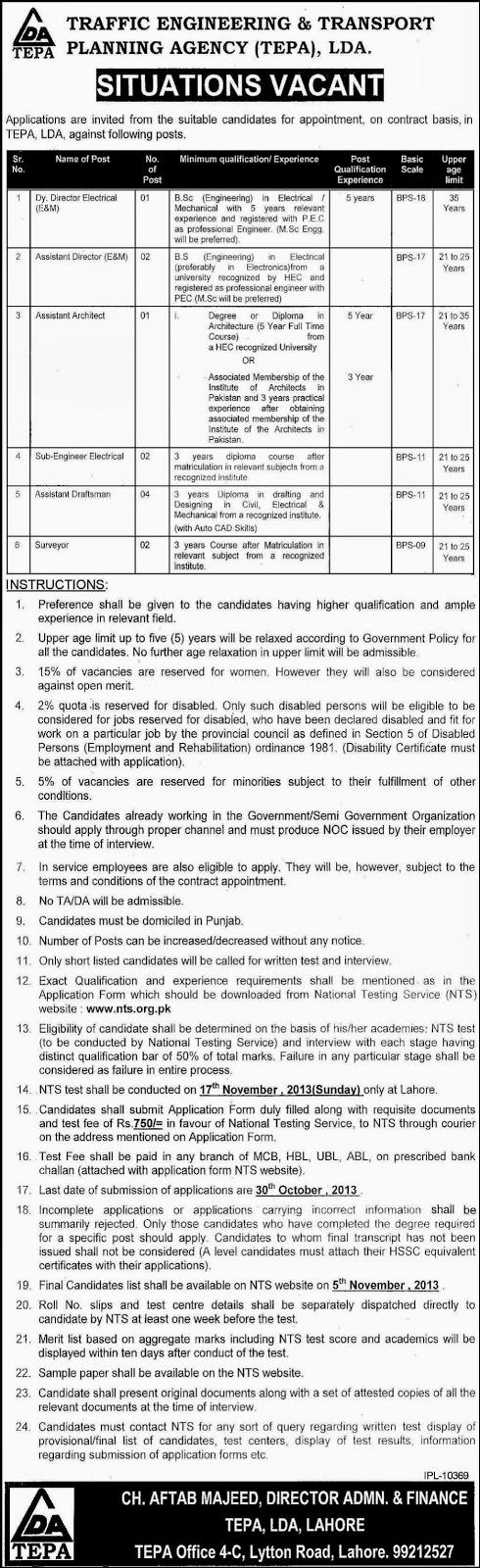 Govt Jobs in Traffic Engineering And Transport Planning Agency, LDA